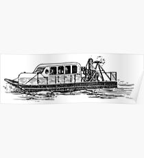 Old Vintage Antique Ferry Boat Drawing Poster