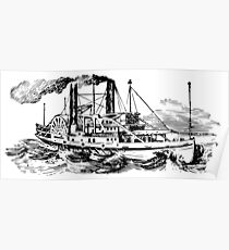 Old Vintage Antique Big Steam Ship Boat Drawing Poster