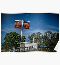 Old rustic fuel station sign in the countryside Poster