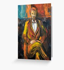 Painting illustration of man portrait in brown colors  Greeting Card