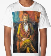 Painting illustration of man portrait in brown colors  Long T-Shirt