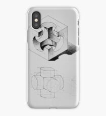 Drawing illustration of axonometric projection of abstract architecture exercise    iPhone Case/Skin
