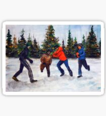 Painting illustration of children playing in the snow Sticker