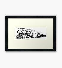 Old Vintage Antique Steam Train Drawing #6 Framed Print