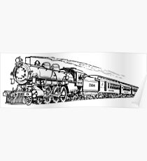Old Vintage Antique Steam Train Drawing #6 Poster