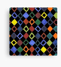 Watercolor pattern with colored rhombus Canvas Print