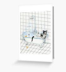 Tuxedo Cat Reading Newspaper in Bathtub Greeting Card
