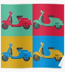 Vintage Italian Scooter Pop Art Illustration Poster