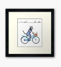 Vintage Tuxedo Cat on a Bicycle  Framed Print