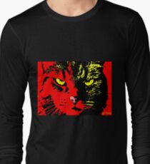 ANGRY CAT POP ART - YELLOW BLACK RED Long Sleeve T-Shirt