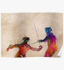 Fencing sport art #fencing Poster