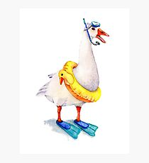 Snorkeling Goose Photographic Print