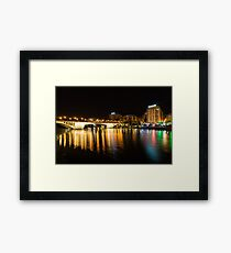 Seville Night Magic - Triana Multicolored Reflections Shimmering in Guadalquivir River Framed Print
