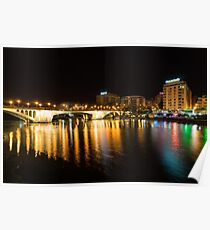 Seville Night Magic - Triana Multicolored Reflections Shimmering in Guadalquivir River Poster
