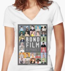 Bond Film Alphabet Women's Fitted V-Neck T-Shirt