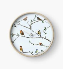 Garden birds fill the trees Clock