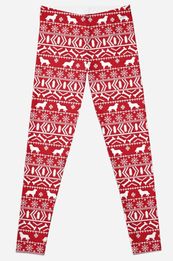 Bernese Mountain Dog fair isle christmas dog breed pattern red and white minimal  by PetFriendly