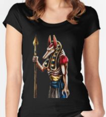 Anubis the Egyptian god of the Afterlife Women's Fitted Scoop T-Shirt