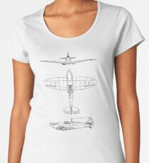 British, Supermarine, Spitfire, Supermarine, Spitfire,  Fighter, WWII, 1942, Fighter, WWII, 1942, on GREY Women's Premium T-Shirt