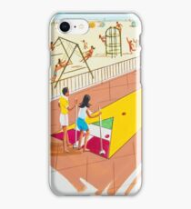 1960's Original Shuffleboard Artwork for a motel's pre opening brochure iPhone Case/Skin