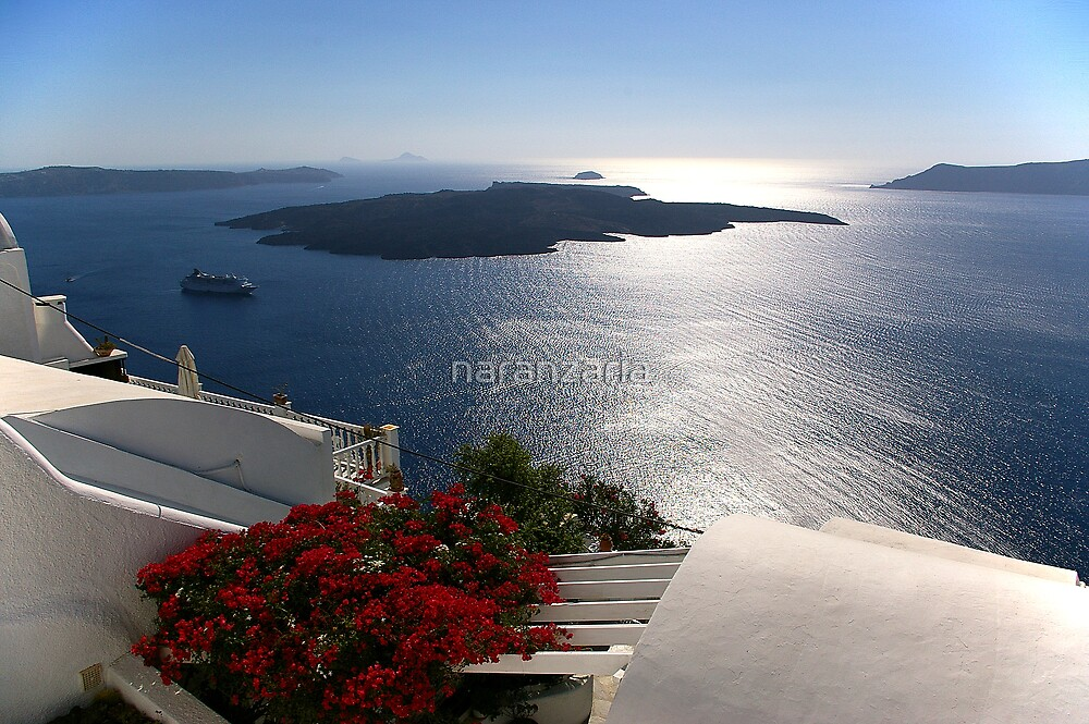 Santorini cruise liner and volcano by naranzaria