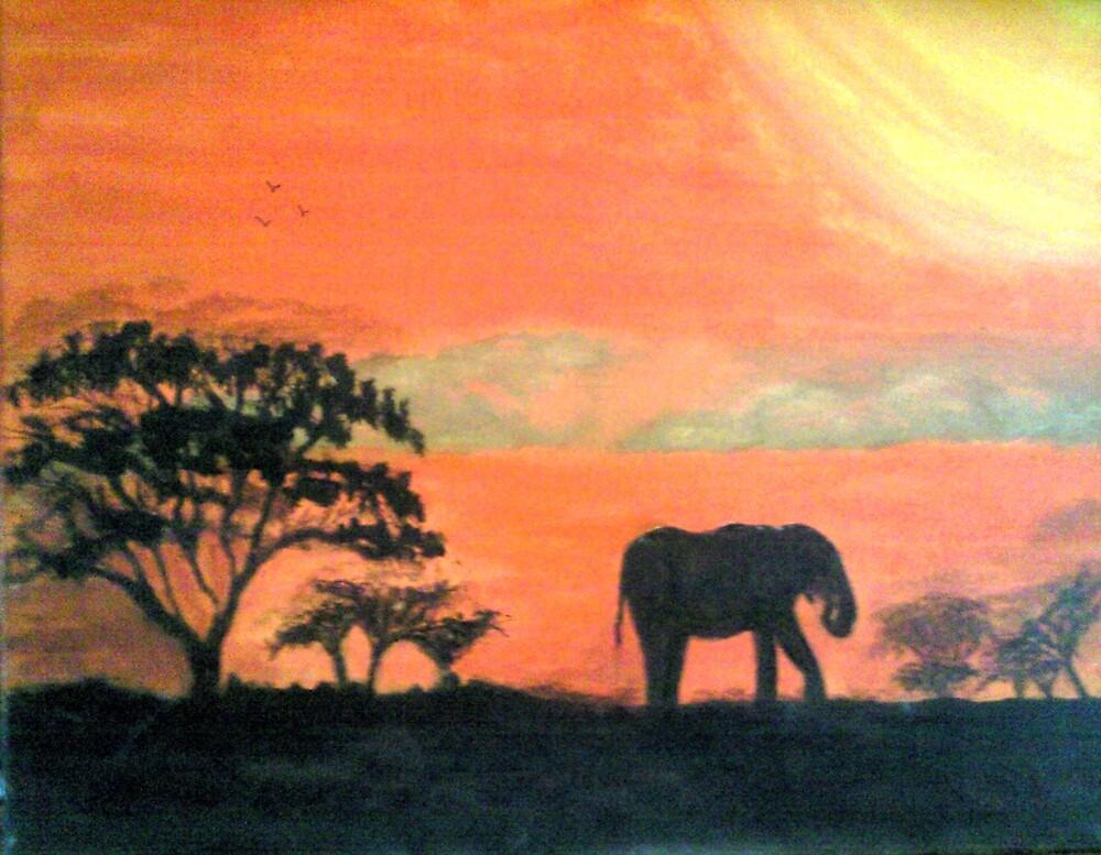 Elephant Sunset by GEORGE SANDERSON