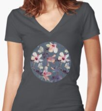 Butterflies and Hibiscus Flowers - a painted pattern Women's Fitted V-Neck T-Shirt