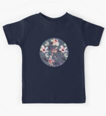Butterflies and Hibiscus Flowers - a painted pattern Kids Tee
