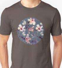 Butterflies and Hibiscus Flowers - a painted pattern Unisex T-Shirt