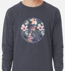 Butterflies and Hibiscus Flowers - a painted pattern Lightweight Sweatshirt