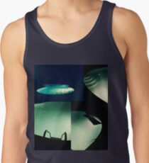 Spooky Summer Pool at Night  Collage Staggered Tank Top