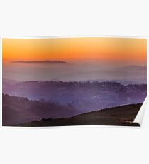 Landscape with the sunset sky Poster