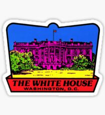 The White House Washington DC Vintage 70's Neon Funk Luggage Label Sticker