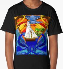Stain Glass Sail Boat Art Long T-Shirt
