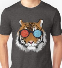 Tigers Head Wearing 3D Glasses Colorful Design T-Shirt