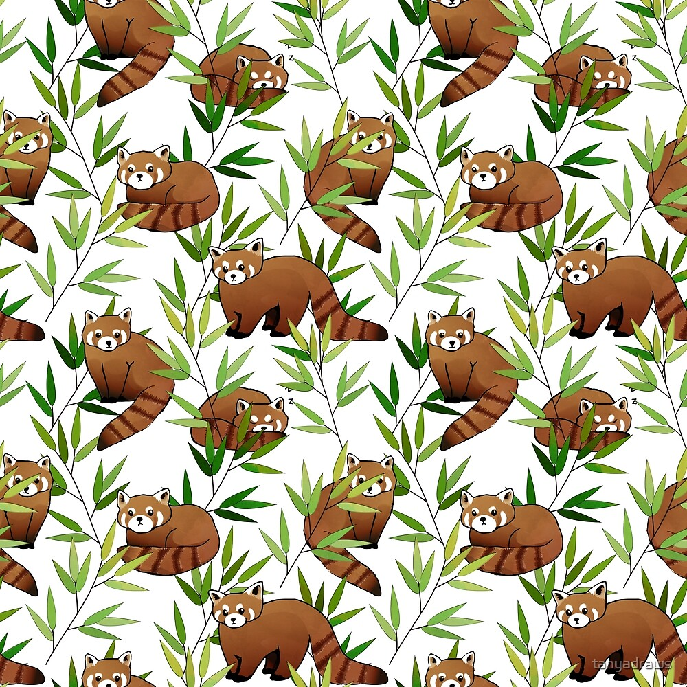 Red Panda & Bamboo Leaves Pattern by tanyadraws