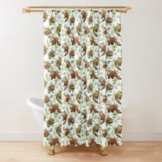 Red Panda & Bamboo Leaves Pattern Shower Curtain
