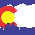 Denver Colorado Skyline Flag by Korben-Dallas