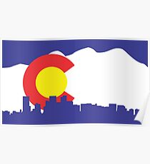 Denver Colorado Skyline Flag Poster
