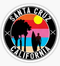 SURFING SANTA CRUZ CALIFORNIA SURFER BEACH SURFBOARD Sticker