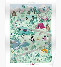 ABC POSTER WALD CAMPING TIERE Poster