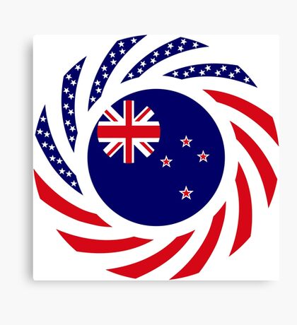 New Zealand American Multinational Patriot Flag Canvas Print