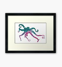 Vector illustration with octopus Framed Print