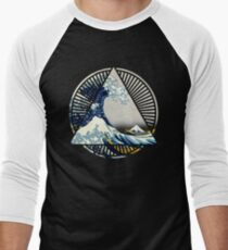 Vintage Hokusai Mount Fuji Great Tsunami Wave Japanese Geometric Manga Shirt Men's Baseball ¾ T-Shirt