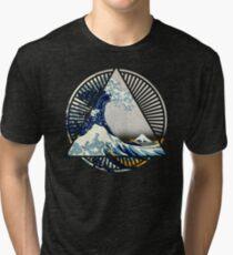 Vintage Hokusai Mount Fuji Great Tsunami Wave Japanese Geometric Manga Shirt Tri-blend T-Shirt