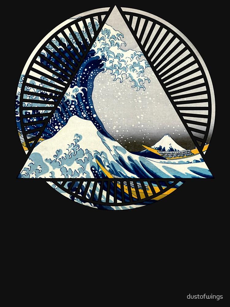 Vintage Hokusai Mount Fuji Great Tsunami Wave Japanese Geometric Manga Shirt by dustofwings