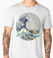 Hokusai - 36 Views Of Mount Fuji - Great Wave Off Kanagawa Geometric Triangle Shirt Men's Premium T-Shirt