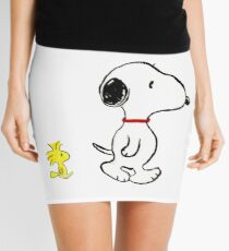 Snoopy and woodstock walking Mini Skirt