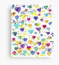 Hearts with Colorful Paint Splatter Canvas Print