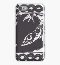 Toothless Woodblock Print iPhone Case/Skin